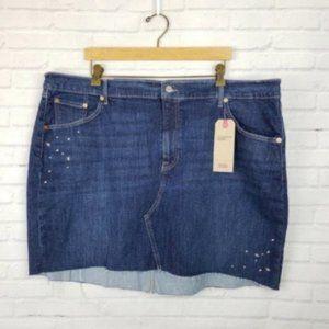 Levi's Deconstructed Embellished Denim Skirt NWT